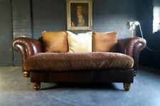 4. Superb Tetrad Degas 3 Seater Sofa & Pouffe Vintage Chesterfield.