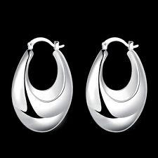 925Sterling Silver Fashion Jewelry Hollow Smooth Belly Women Earrings Hoop EY711