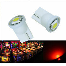 30x #555 T10 1 SMD 5050 LED Pinball Machine Light Bulb Red AC/ DC 6.3V P2