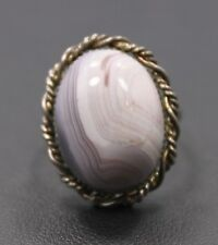 Adjustable Sterling Purple White Pink Oval Agate Stone Ring One Size Fits All