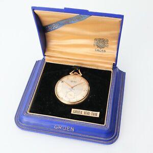 Vintage Gruen Precision Veri-Thin 17j, 10K GF Swiss Pocket Watch w/ Box Running