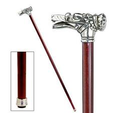 Handcrafted Solid Pewter Fairy Tale Wolf Hardwood Walking Stick Cane NEW