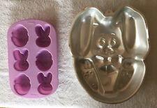 Wilton Easter Egg/Bunny silicone mini cake mold plus 1987 vintage aluminum bunny