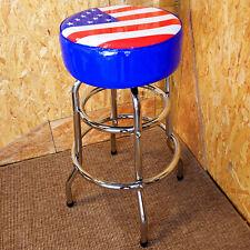 USA FLAG AMERICAN DINER BAR STOOL PADDED SWIVEL SEAT CHROME METAL - RETRO CAFE