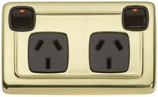 brass/brown double power point,outlet,deco heritage style new/restoration TH5809