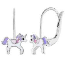 925 Sterling Silver Unicorn Earrings Leverback Dangle Earrings for Girls Kids