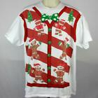 "Ugly Christmas Sweater Gingerbread Man Santa  XL  T-Shirt  23"" Pit2Pit"