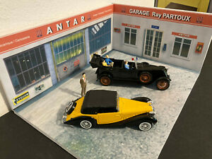 lot 1/43 Solido: Renault 40CV et Delahaye 135M TBE + diorama Antar + 4 figurines