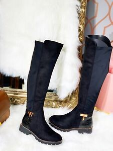 NEW LADIES WOMENS OVER THE KNEE STUD HIGH STRETCHY BOOT GOLD BUCKLE BOOTS SZ 3-8