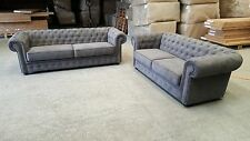FABRIC NEXT CHESTERFIELD SOFA 3 SEATER & 2 SEATER IN DARK GREY FABRIC