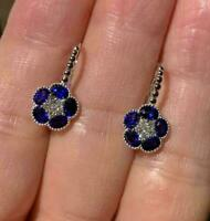 2.00Ct Oval Cut Blue Sapphire Diamond Leverback Hoop Earrings 14K White Gold FN