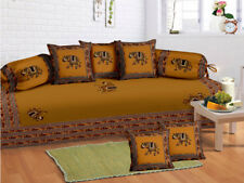 100 % Cotton Elephant Yellow Diwan Set Diwan Cover Cushion Covers Bolster Cover