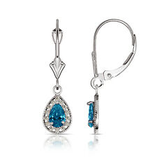 1.65 CTW Halo Topaz Pear Tear Drop Dangle Leverback Earrings 14K White Gold