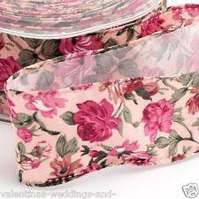 Floral Polka Dot Wire Edge Rose Print Ribbon Crafts 25mm 38mm 1-3m  Full Roll