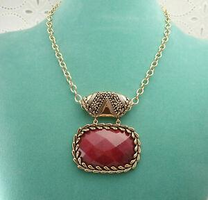 """Barse Huge Faceted Red Bordeaux Quartz Bronze Pendant 18"""" Necklace"""