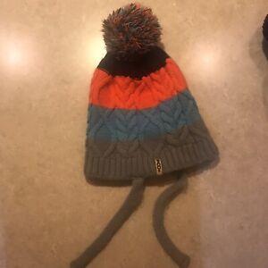 Volcom Striped Winter Hat With Tassles And Pom Pom Gray Orange Blue Black