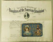 SIGNED 1897 Daughters American Revolution Membership Cert & Scrap Autograph Book