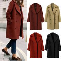 Women Winter Trench Button Woolen Parka Long Coat Outwear Loose Jacket Warm Coat