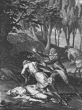 ROMANCE. Dead woman, man falling, sword c1800 old antique print picture