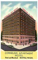 Vtg Postcard CORNELIUS APARTMENT HOTEL Street View Linen 1959 Seattle Washington
