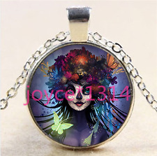 Sugar Flower Girl Cabochon Tibetan silver Glass Chain Pendant Necklace #5797