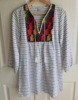 J Crew Womens 3/4 Sleeve White Tassels Embroidered Stripe Tunic Dress Size XXS