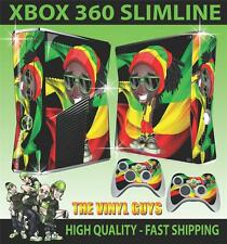 Xbox 360 Slim Autocollant Rasta Man Dreads Mauvaise Herbe Skin & 2 Pad Stickers
