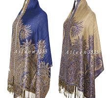 Triple Layer Pashmina & Silk PaisleyShawl-Dark.Blue#D