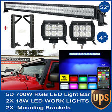 5D 52inch 700W RGB + 2x 18W LED Light Bar+Mount Bracket Fit Jeep JK Wrangler 54""