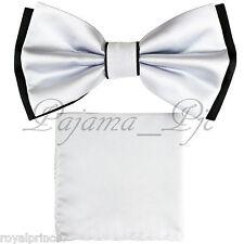 Two Tone Black White Bowtie And Black Handkerchief Set Wedding Prom