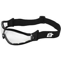 Birdz Boogie Foam Padded Motorcycle Goggles Black Frames Clear Anti-Fog Lenses