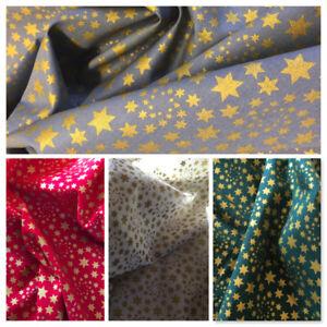 Christmas Fabric Per Metre Stars Red Green Ivory Gold Craft Festive Advent Noel