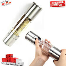 Salt and Pepper Grinder Set 2-in-1 Adjustable Ceramic Mill Stainless Steel NEW