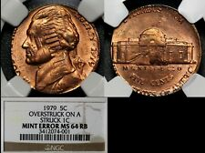 USA ERROR - 5c 1979 Double Denomination Struck on 1c 1979 - NGC MS64 (a584)