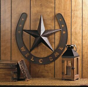 Rustic Welcome Star Horseshoe Western Country Metal Wall Art Plaque Home Decor
