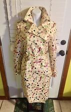 DESIGNER STILETTO SHOE PRINT RAIN JACKET TRENCH COAT NEW LINDA RICHARDS SMALL S