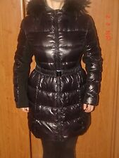 New BCBGMAXAZRIA Down Coat Jacket Puffer Black Belted Fur Trim Hood Parka L$468
