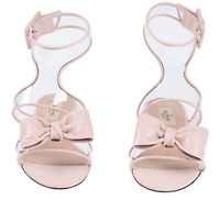 $875 New VALENTINO GARAVANI SANDAL SHOES PINK NUDE  CLEAR DOLLY BOW 39 / 7.5 - 8