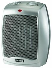 Lasko Silver Ceramic Electric Heater Fan with Adjustable Thermostat 1500-Watt