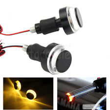 LED Handle Bar End Indicator Grip Plug Turn Signal Light Motorcycle For Harley