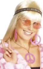 Mujer Años 70 Rosa Hippy Diadema Gafas Collar Disfraz Kit
