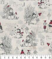 Christmas Fabric  - Happy Snowman & Bird Collage Gray - Cotton YARD