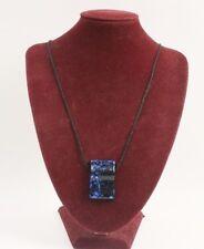 Necklace Black Silk Cord Art Glass Pendant Metallic Blue and Black 14 Inch Drop