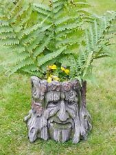 Novedad Decoración De Jardín Árbol Efecto Madera de tocones Plantador Resina Tallada Cara Olla NUEVO