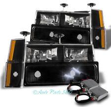 88-93 CHEVY/GMC C/K CRYSTAL HEADLIGHT LAMP BLACK W/BUMPER+CORNER+50W 8K HID KIT