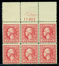 US #528 2¢ carmine, type Va, Block of 6 w/Monogram over Plate No. VF and scarce