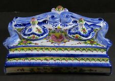 Vestal Alcobaca Portugal Hand Painted Inkwell Stand Numbered Signed Pottery