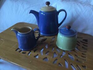 Denby Juice Teapot Sugar Bowl And Milk Jug