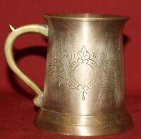 Antique Art Deco Europeanl Engraved Brass Plated Mug Tankard Stein