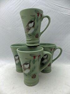 Pfaltzgraff Winterwood pattern - 4 tall coffee cups/mugs - Chickadees - 2010